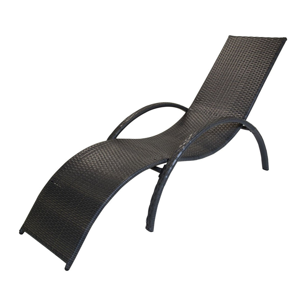Charles Bentley Amalfi Curved Rattan Garden Sun Lounger - Grey