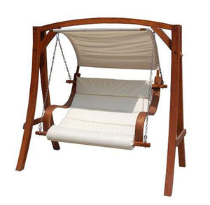 Charles Bentley Wooden 2-3 Seater Swing Seat with Sun Canopy - Cream