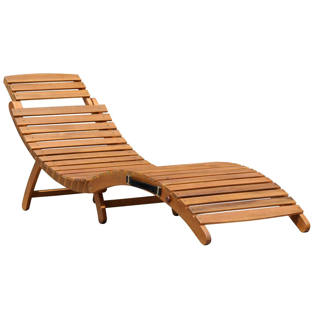 Charles Bentley Curved Reclining Wooden Sun Lounger