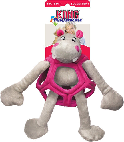 Kong Puzzlements Hippo Dog Toy - Small