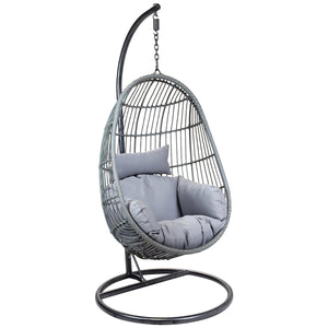 Charles Bentley Rattan Hanging Swing Chair with Cushion - Grey