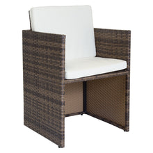 Charles Bentley 4 Seater Rattan Cube Dining Patio Garden Furniture Set - Brown