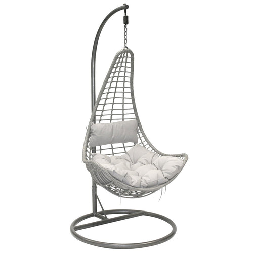 Charles Bentley Rattan Hanging Chair Swing with - Grey