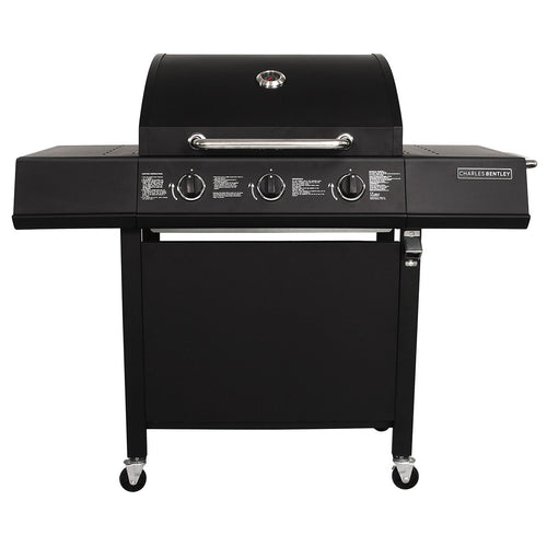 Charles Bentley Stainless Steel 3 Burner Gas BBQ Grill - Black