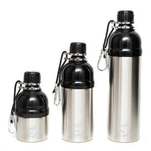 Long Paws Dog Travel Water Bottle in Silver - 250ml to 750ml