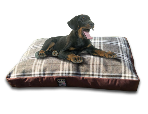 GB Pet Beds Dog Mattress Bed - Chatsworth Nutmeg Check Design