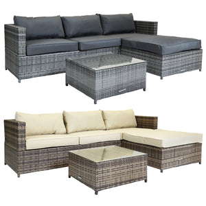 Charles Bentley Napoli L-Shaped 3 Seater Rattan Lounge Set - Grey