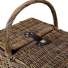 Charles Bentley 4 Person Willow Wicker Picnic Basket  - Checked Lining