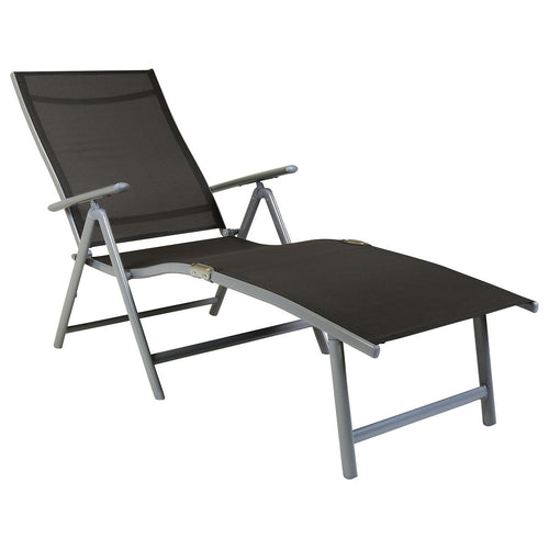 Charles Bentley Foldable Sun Lounger 7 Positions Space Saving - Grey