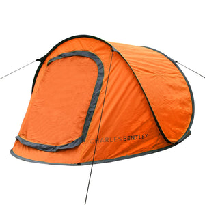 Charles Bentley 2 Man Instant Pop Up Camping Tent - Orange