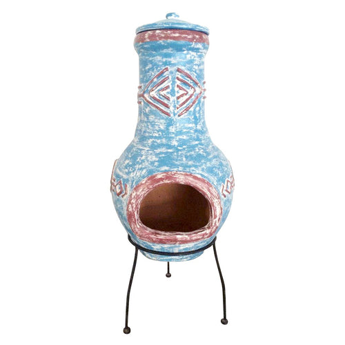 Charles Bentley Aztec Blue Clay Chimenea Patio Heater - Large