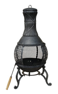 Charles Bentley 89cm Cast Iron Chiminea Patio Heater - Black / Bronze