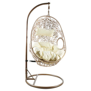 Charles Bentley Floral Design Rattan Swing Chair w/ Cushion - Natural