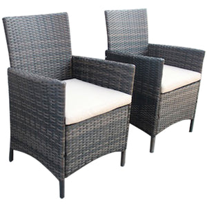 Charles Bentley Verona Pair Of Rattan Dining Chairs Garden Furniture - Brown