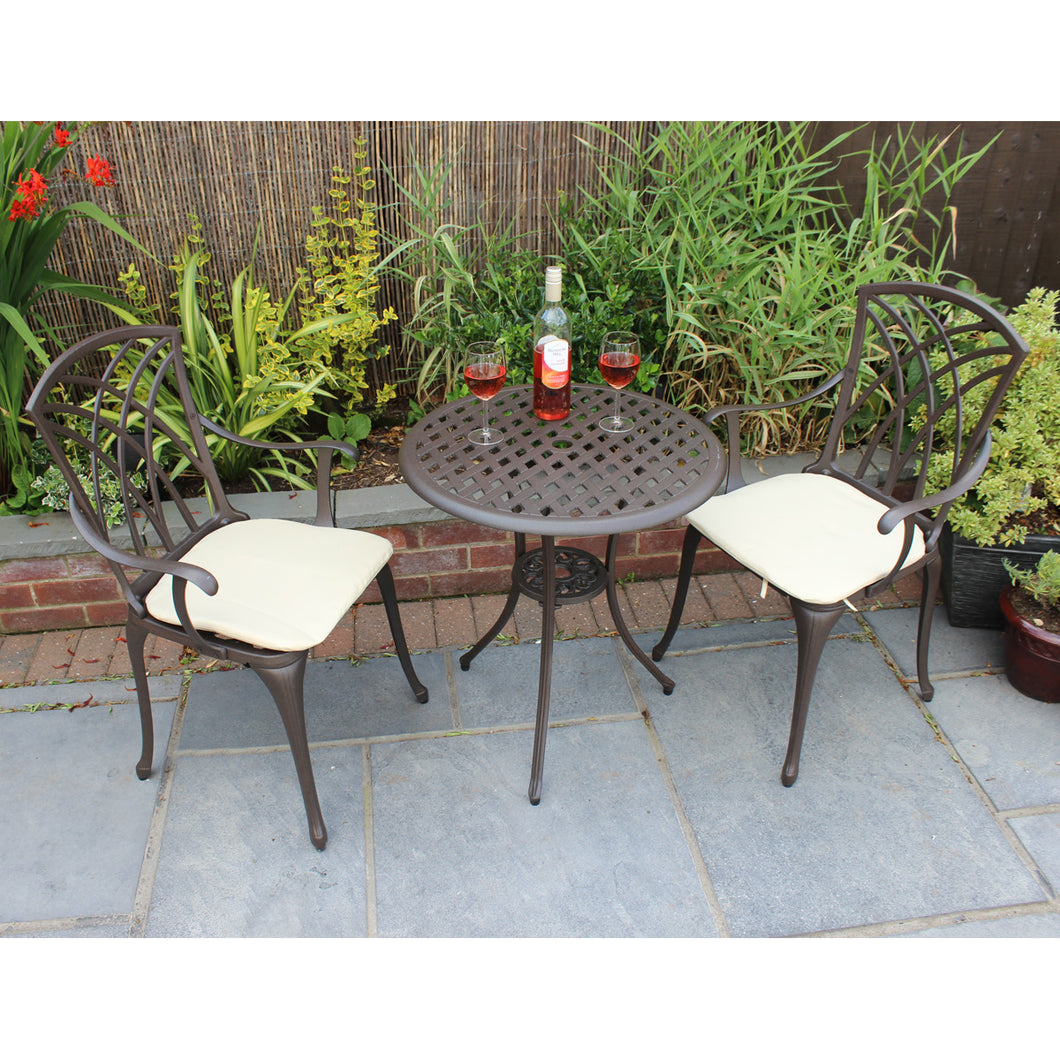Charles Bentley Furniture 3 Piece Cast Aluminium Bistro Set Table
