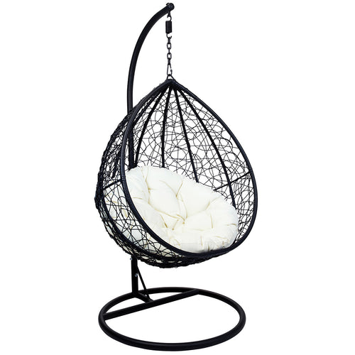 Charles Bentley Rattan Hanging Chair Swing Seat - Black