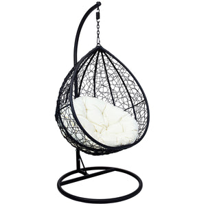 Charles Bentley Hanging Wicker Rattan Swing Chair Seat - Black