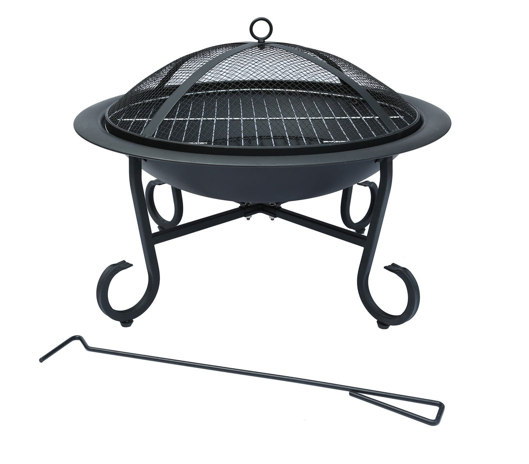 Charles Bentley Open Bowl 56cm Fire Pit Heater Patio Heater - Black