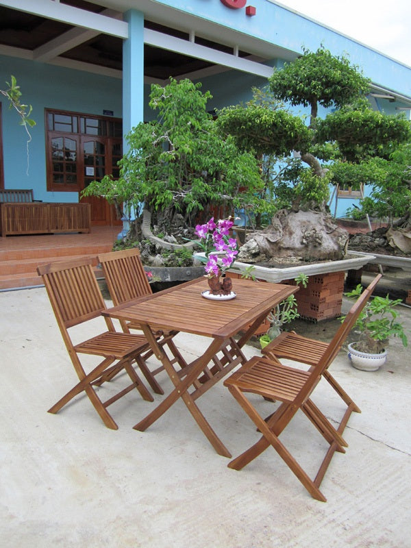Charles Bentley Rectangular Hardwood Patio Set - 5 Piece