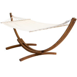 Charles Bentley Solid Wood Freestanding Garden Hammock - Cream Canvas