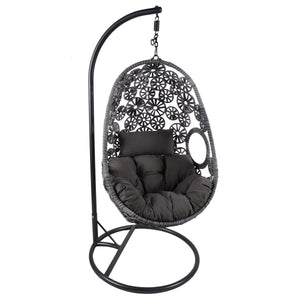 Charles Bentley Rattan Floral Design Swing Chair and Cushion - Grey