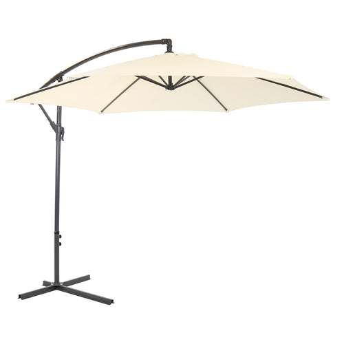 Charles Bentley Garden 3m Round Cantilever Parasol Umbrella - Cream