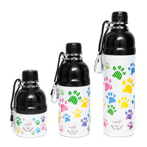 Long Paws Dog Travel Water Bottle - Paws Design - 250ml to 750ml