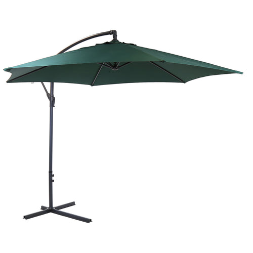 Charles Bentley Garden 3m Round Cantilever Parasol Umbrella - Green