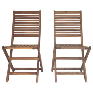 Charles Bentley Traditional Wooden Folding Garden Chairs - Set of 2