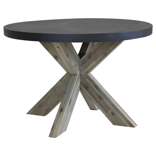 Charles Bentley Round Concrete & Wood Dining Table