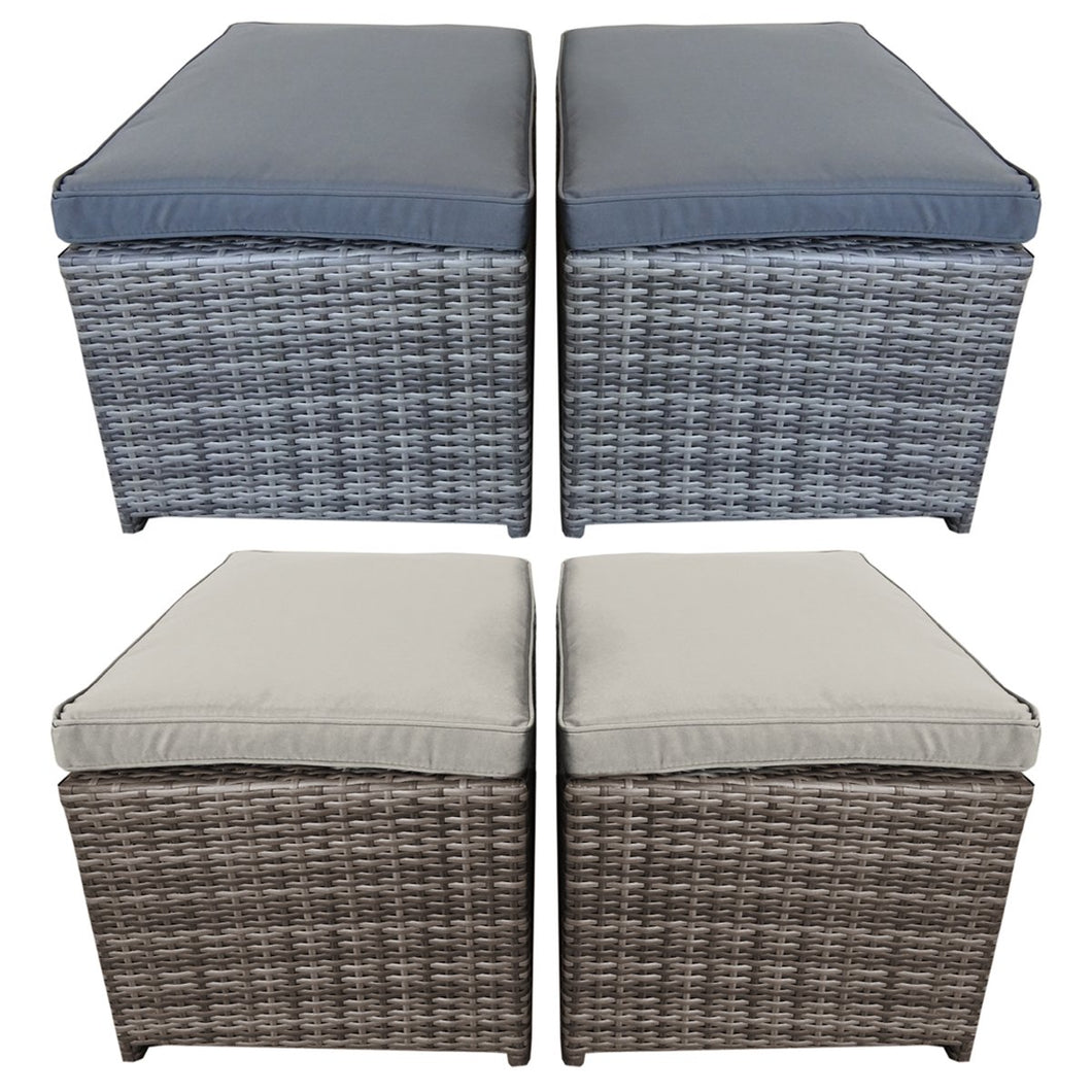 Charles Bentley Rattan Footstools - Set of 2 in Brown & Grey
