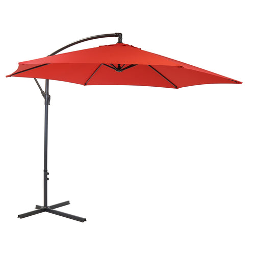 Charles Bentley Garden 3m Round Cantilever Parasol Umbrella - Red