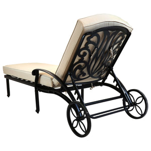 Charles Bentley Cast Aluminium Sun Lounger Recliner With Beige Cushion