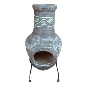 Charles Bentley Clay Wood Burning Chiminea Patio Heater - Small