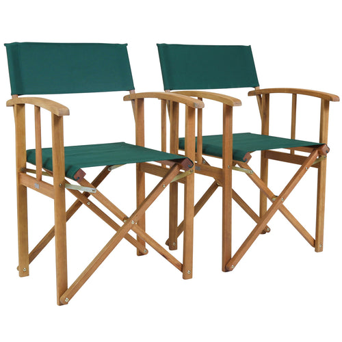 Charles Bentley Folding Wooden Director Garden Patio Chairs - Set of 2 in Green