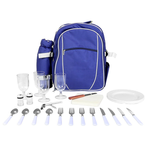 Charles Bentley 4 Person Picnic Bag Set - Blue
