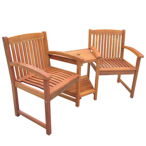 Charles Bentley Wooden Companion Bench Seat Jack and Jill Love Seat Patio Set