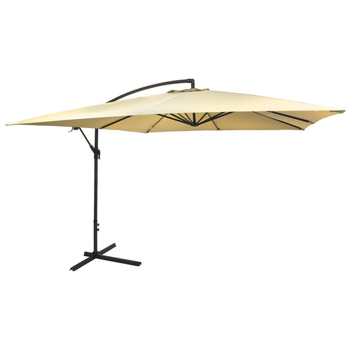 Charles Bentley 3m Square Hanging Banana Parasol Umbrella - Beige