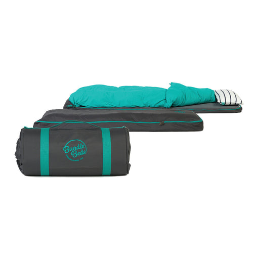 Bundle Beds Self Inflating Mattress with 15-tog Duvet - Grey and Teal