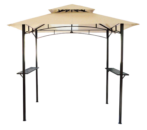 Charles Bentley 8 x 5ft Steel Gazebo Outdoor Shelter - Beige