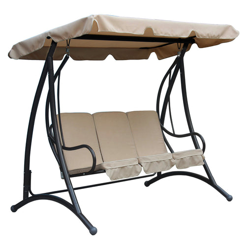 Charles Bentley 3 Seater Outdoor Swing Seat with Sun Canopy - Beige