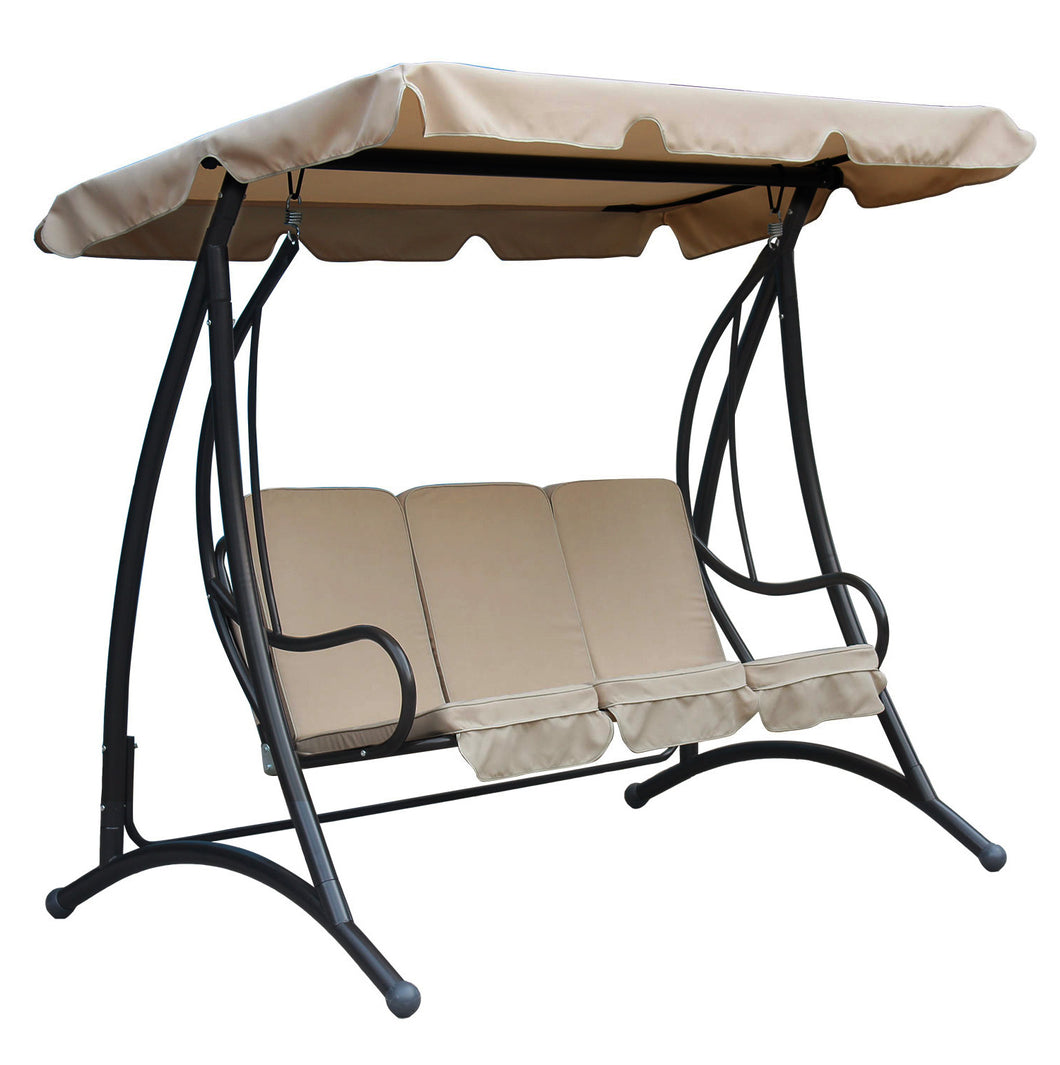 Charles Bentley 3 Seater Premium Outdoor Swing Seat with Sun Canopy - Beige