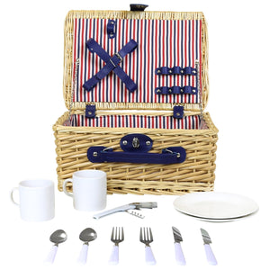 Charles Bentley 2 Person Willow Wicker Picnic Basket Hamper Set