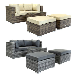Charles Bentley 2-3 Seater Rattan Lounge Set - Brown