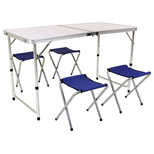Charles Bentley Foldable Camping Picnic Table with 4 Chairs
