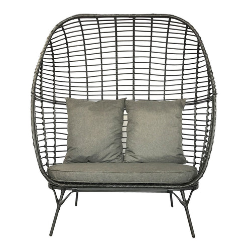Charles Bentley Double Rattan Pod Chair - Black & Grey