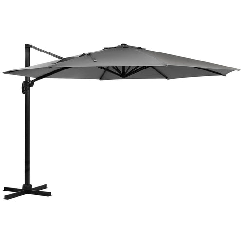 Charles Bentley Premium 3.5m X-Large Hanging Banana Parasol Umbrella - Grey
