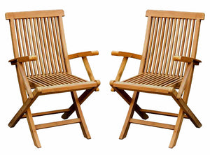 Charles Bentley Solid Teak Folding Garden Chairs - Pair