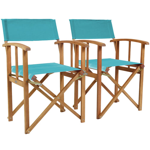 Charles Bentley Folding Wooden Director Garden Patio Chairs - Set of 2 in Teal