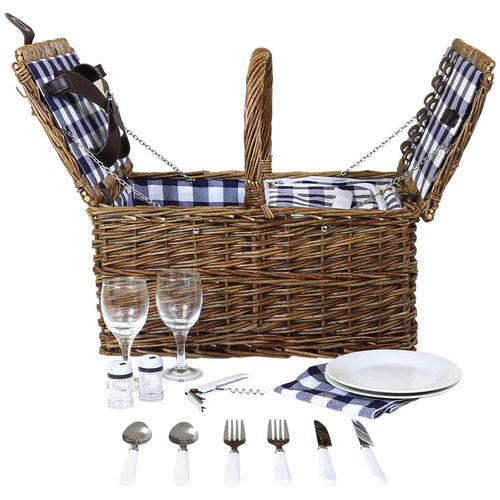 Charles Bentley 2 Person Traditional Picnic Basket Set - Checked